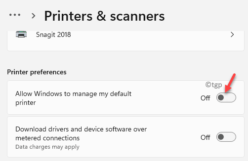 Printers Scanners Printer Preferences Allow Windows To Manage My Default Printer Turn Off Min
