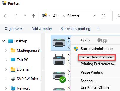 Printers Select Desired Printer Right Click Set As Default Printer Min