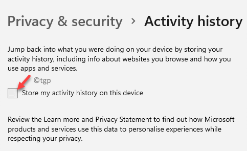 Privacy & Security Activity History Store My Activity History On This Device Min