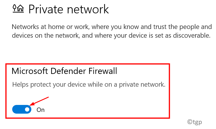 Private Netwokr Firewall Turn On Min