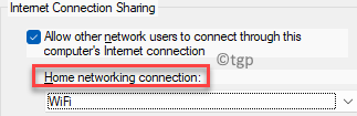 Properties Sharing Tab Check First Option Home Networking Connection Select From Drop Down