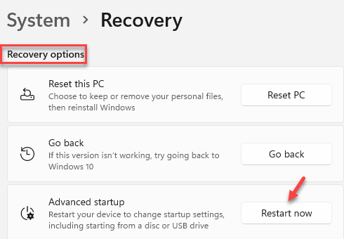 Recovery Option Advanced Startup Restart Now Min