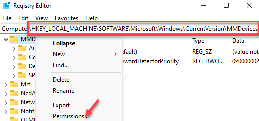 Registry Editor Navigate To Mmdevices Right Click Permissions