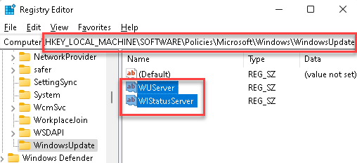 Registry Editor Navigate To Windows Update Key Delete Wuserver And Wistatusserver String Values