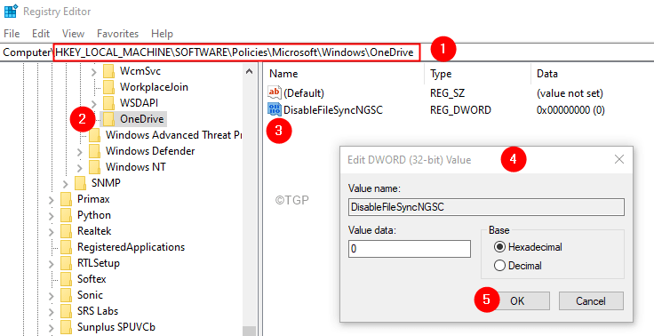 Registry Editor Onedrive Disablefilesyncgsc Key Min (1)