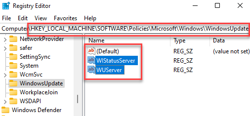 Registry Editor Navigate To Windows Update Key Wuserver And Wistatusserver Delete