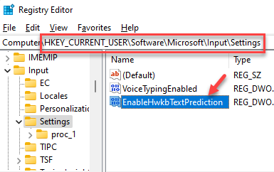 Registry Editor Navigate To Path Enablehwkbtextprediction Double Click