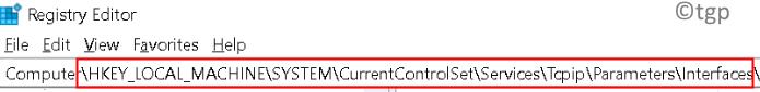 Registry Tcpip Parameters Interfaces Min