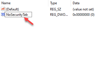 Rename New Dword Value Nosecuritytab