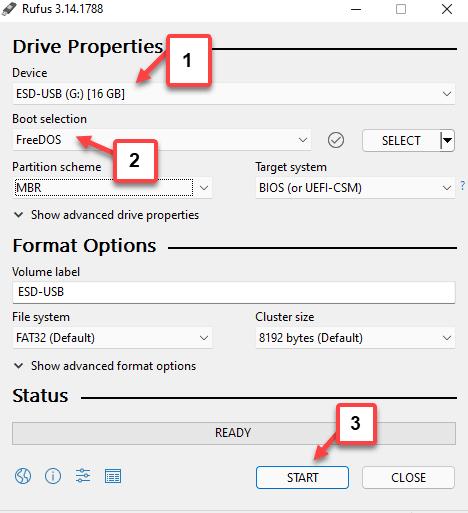 Rufus Drive Properties Select Device Boot Selection Start Min