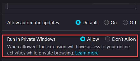 Run In Private Windows Allow