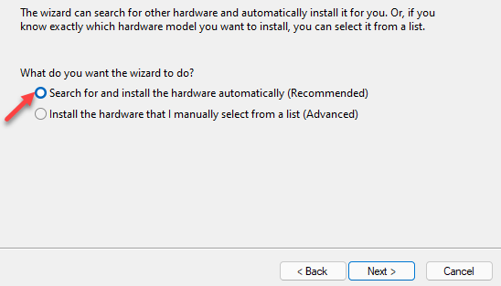 Search For And Install The Hardware Automatically Next