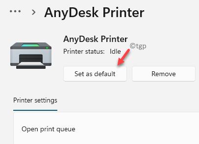 Selected Printer Set As Default