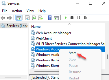 Services Name Windows Audio Right Click Start