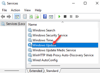 Services Names Windows Update