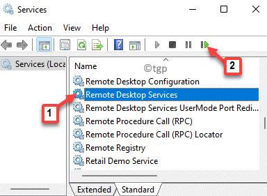 Services Remote Desktop Services Click On Restart Service Icon On Top Min