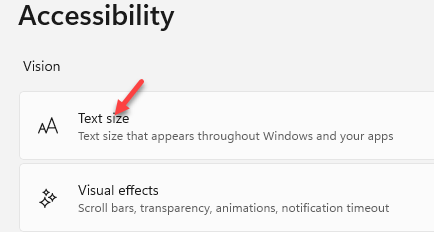 Settings Accessibility Text Size