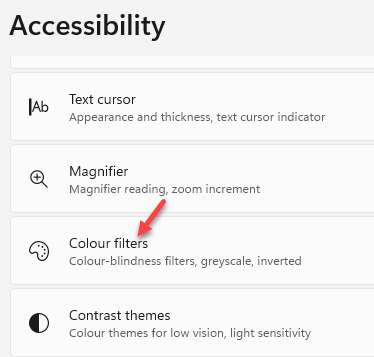 Settings Accessibility Right Side Color Filters