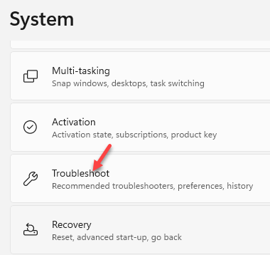 Settings System Troubleshoot