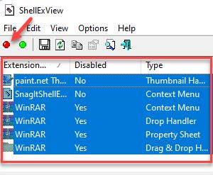 Shellexview Ctrl + A Extensions Red Button