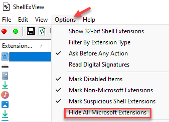 Shellexview Options Hide All Microsoft Extensions