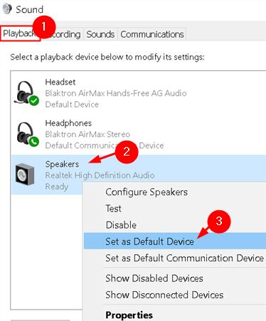 Sound Playback Set Default Min