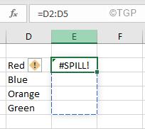 Spill Error In Excel White Font
