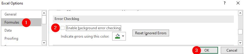 Untick Error Checking