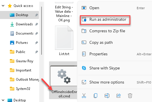 Win + E File Explorer Go To Location Offlineinsiderenroll Command Right Click Run As Administrator Min