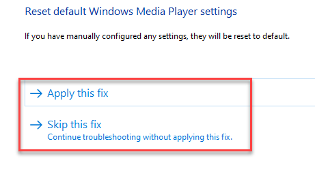 Windows Media Player Settings Choose From Apply This Fix Or Skip This Fix