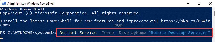 Windows Powershell (admin) Run Command To Restart Rdp Alternate Command Enter Min