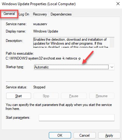 Windows Update Properties General Startup Type Automatic Apply Ok