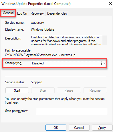 Windows Update Properties General Startup Type Disabled Apply Ok