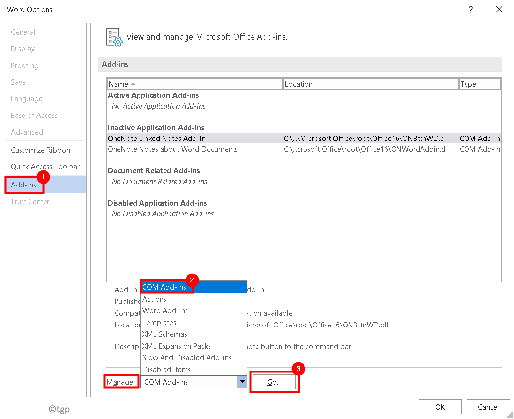 Word Options Manage Com Add Ins Min