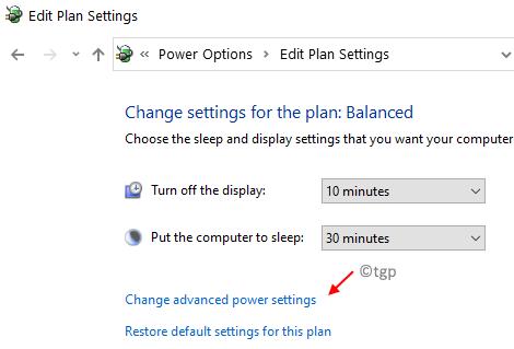 Change Advanced Power Settings Min
