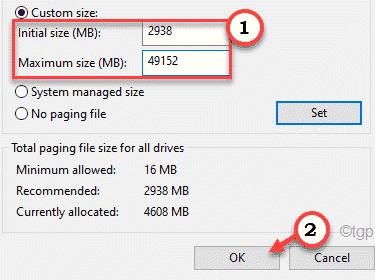 Maximum Size Ok Min