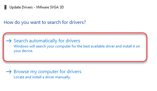Search Automatically For Driver Graphics Min Min