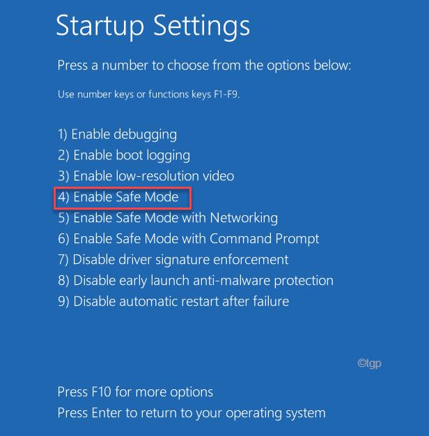 Startup Settings Options Safe Mode 1234 Startup Repair Min Min Min