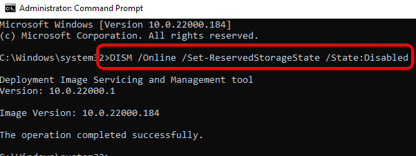 10 Reserved Storage Disabled