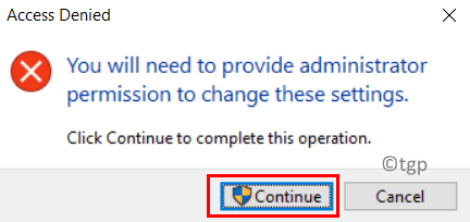 Access Denied While Changing Shortcut Min