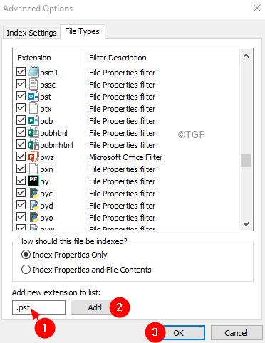 Advanced Options Adding Filetype