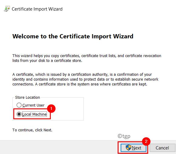 Certificate Import Wizard Local Machine Min