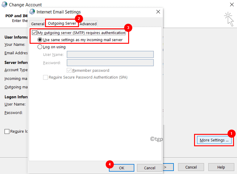 Change Account More Settings Outgoing Server Min