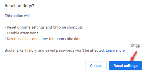Chrome Reset Settings Reset Settings