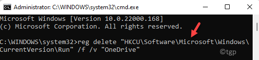 Command Prompt (admin) Run Command To Disable Onedrive Enter