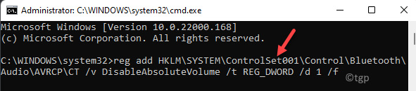 Command Prompt (admin) Run Command To Disable Absolute Bluetooth Volume Enter