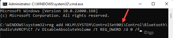 Command Prompt (admin) Run Command To Enable Absolute Bluetooth Volume Enter