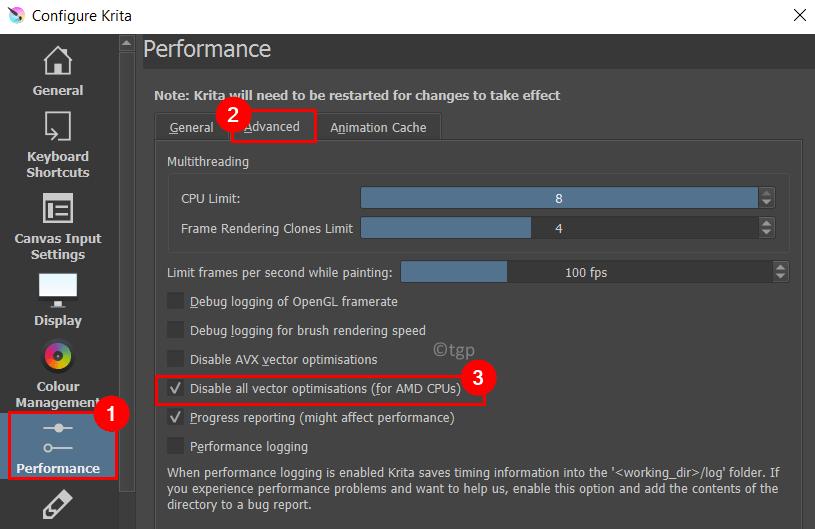 Configure Krita Performance Advanced Disable Vector Optimisations Min
