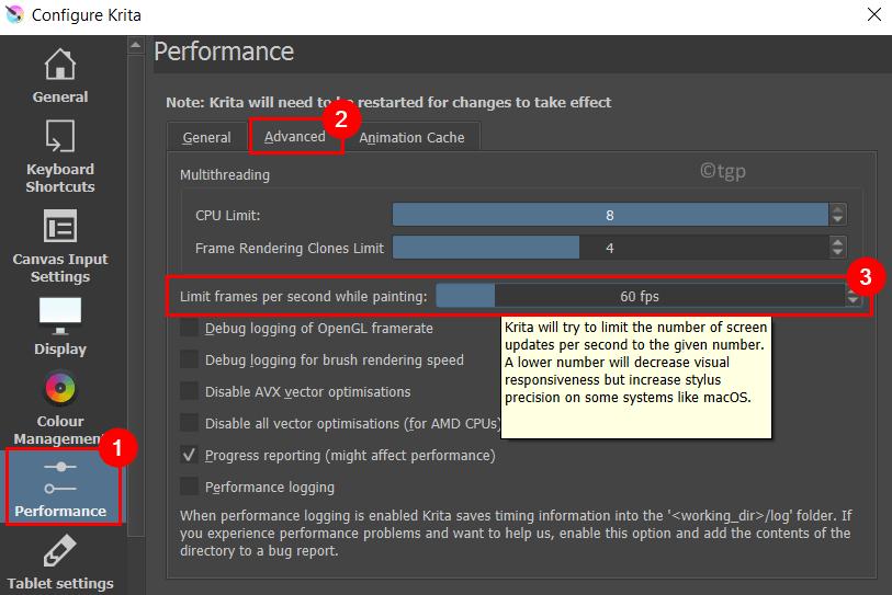 Configure Krita Performance Limt Frame Rate Min