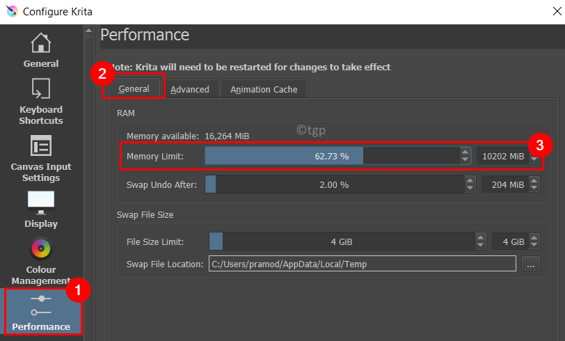 Configure Krita Performance Ram Memory Limit Min